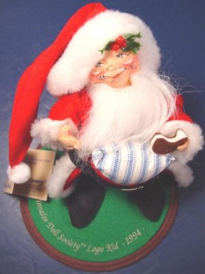 1994 vintage Annalee Mobilitee Doll Society logo kid Santa Claus costume boy, cookie, felt