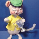 1965 Annalee Mobilitee Dolls vintage gray trophy mouse doll green cap yellow shirt handcrafted