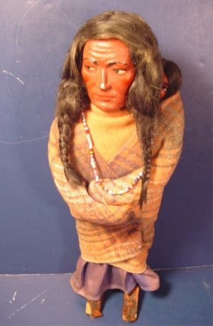Skookum Indian Native American early doll 11 inch man or woman baby papoose blanket beads