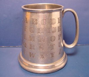 Vintage Sheffield English pewter ABC baby mug childs cup alphabet letters numbers, England