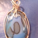 Handcrafted blue agate artisan wire wrapped necklace pendant sterling silver cabochon stone