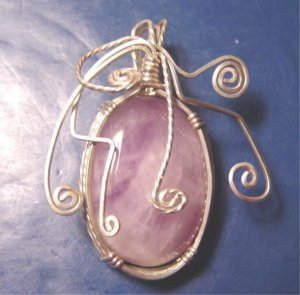 Artisan handcrafted amethyst wire wrapped sterling silver purple necklace pendant artist cabochon
