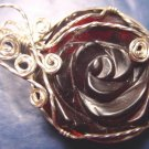 Garnet red rose artisan handcrafted sterling silver wire wrapped artist translucent necklace pendant