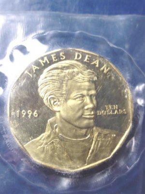 James Dean 1996 coin Republic of the Marshall Islands ten dollars brass metal 10 dollar sealed