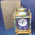 Vintage oriental cloisonne carriage clock beveled glass porcelain painted portraits enamel brass