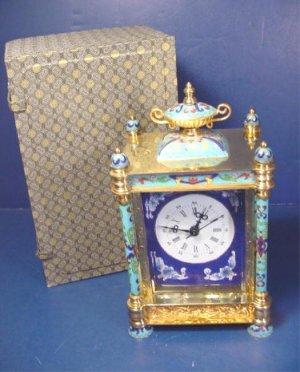 Vintage oriental cloisonne carriage clock beveled glass porcelain painted portraits enamel brass