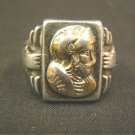 Vintage sterling silver 10K gold Christopher Columbus ring Conquistador man size 8.5