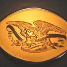 Eagle belt buckle shield banner arrows brass with plastic box, never worn