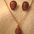 Copper teardrop pendant necklace chain, earrings vintage designer WM signed set gold-flecks stones