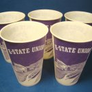 K-State Wildcats Union Kansas State University KSU purple 5 vintage waxed paper drink cups Lily