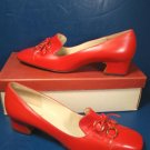 Adores shoes 1960s Delsey red vintage ladies 7 AAA 7 3A casual or dress low heels metal rings bows