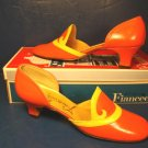 Fiancees 1960s shoes classic classy vintage orange yellow ladies low heels pumps 7 S casual or dress