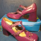 Fanfares purple shoes 1960s vintage 6.5 B 6 ½ B ladies platform heels pumps adjustable straps
