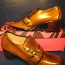 1960s Gold Coast color shoes vintage size 7 S ladies low heels pumps 7S metal studs straps buckles