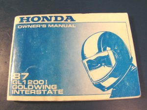Honda Goldwing Interstate 1987 GL1200 I motorcycle book vintage GL1200I owners manual softcover
