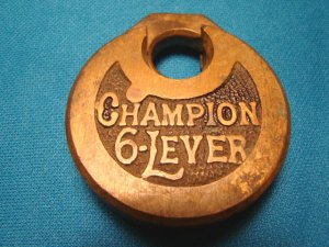Antique Champion 6-lever padlock brass metal vintage heavy old lock oval 6 lever hardware, no key