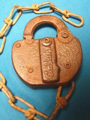 Antique Frisco Railroad Adlake vintage padlock iron steel metal old R.R. switch lock, chain no key