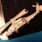 Pewter Helicopter keychain army military aircraft transport Sparta handcrafted aviation key ring