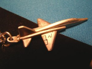 Pewter T-38 Talon supersonic jet trainer USAF airplane keychain military aircraft Sparta key ring