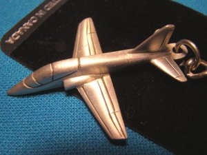 Pewter T-45 Goshawk jet trainer airplane keychain USN aircraft military aviation keyring