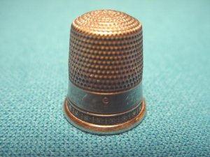 Sterling Silver Thimble star pattern vintage seamstress sewing size number nine 9