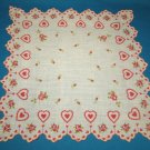 Red hearts roses flower buds vintage Valentine handkerchief hanky scalloped edge 14 inch hankie