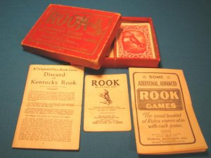 Rook playing card game 1924 Parker Brothers 57 vintage cards instructions rules box Edition A