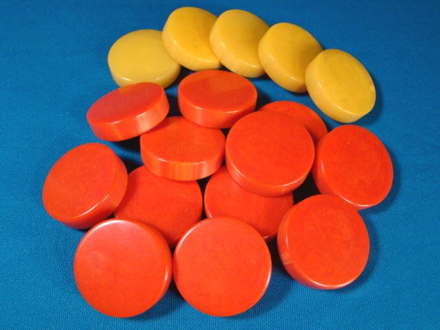 Bakelite or catalin cherry red yellow butterscotch backgammon chips checkers 17 vintage game pieces
