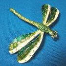 Dragonfly German enamel brooch flying bug pin big green white wings estate Germany metal