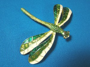 Dragonfly German enamel brooch flying bug pin big green white wings estate Germany metal
