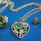 Sarah Coventry heart Love Story birthstone green rhinestone peridot August necklace ring earrings