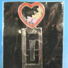 Butterfly heart bookmark red enamel open heart flowers silvertone metal book page clip bookmarker