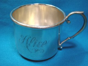 Weidlich sterling silver baby child cup 7141 monogram Alice vintage owl mark antique mug