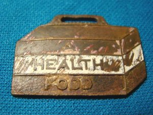 Antique Washburns Ice Cream pocket watch fob Health Food advertising enamel paint metal 1920s