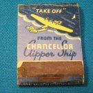 Chancellor clipper ship airplane matchbook cover San Francisco Hotel cocktail lounge Lion Match 30s