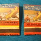 Piper Cub Aircraft 2 airplane matchbook covers light plane flying course Universal Match Co. 1930s