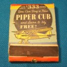Airplane Piper Cub matchbook cover light aircraft plane match book Federal Match Co. 1930s