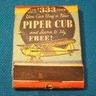 Airplane Piper Cub matchbook cover light aircraft plane match book Federal Match Co. 1930s