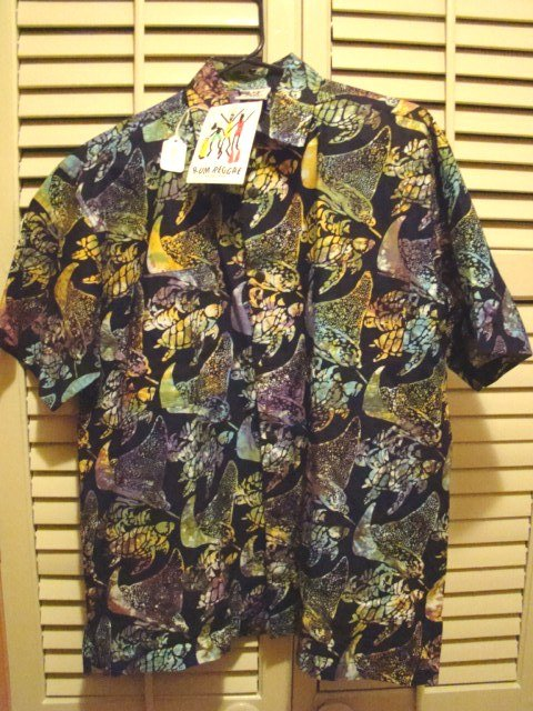 Rum Reggae batik shirt Hawaiian style 100% cotton Hurtle with Turtle mens S short sleeve with tags