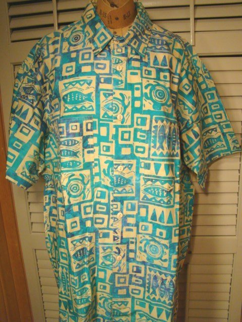 Rum Reggae batik shirt Hawaiian style cotton Marine Mode fish turtle mens L short sleeve with tag