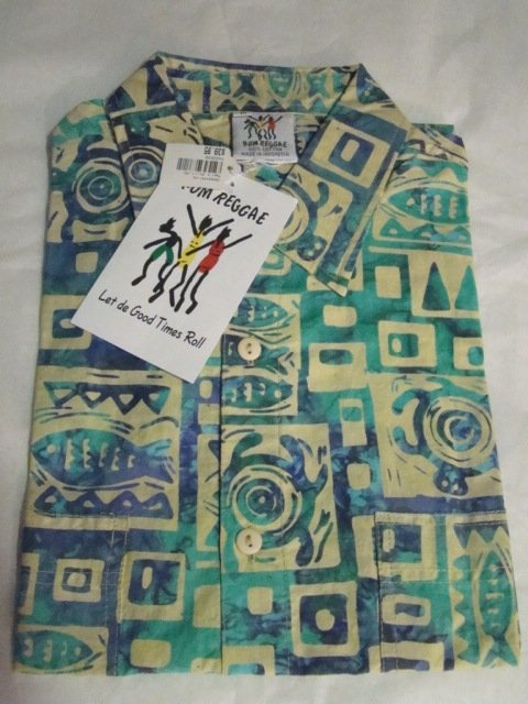 Rum Reggae batik shirt mens M cotton Hawaiian style Marine Mode fish turtle short sleeve with tags