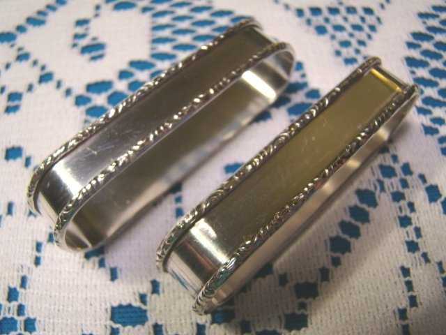 Sterling silver napkin rings Rogers Lunt Bowlen RLB number 765 pair oval holders vintage