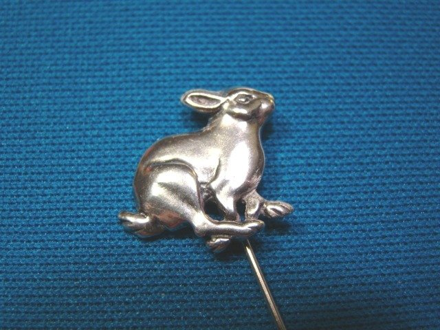 Sterling silver bunny rabbit stick pin brooch vintage jewelry signed PJ