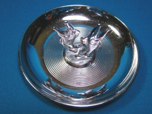 Chrome ashtray two fish pincherette Hamilton pin tray cigarette ash holder vintage 1950s metal dish