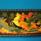 Russian black lacquer ware trinket jewelry box fairy tale hunting horse deer paper mache lacquerware