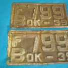 Oklahoma 1939 car truck license tag plates FB799 OK-39 antique auto vehicle matched set to restore