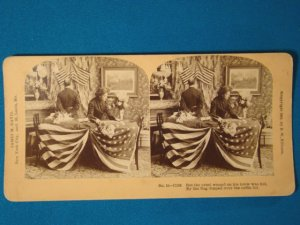 American flag draped coffin stereograph stereoview stereoscope card BW Kilburn antique 1909 JM Davis