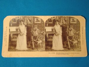 Soldier Victorian lady stereograph stereoview stereoscope card B.W. Kilburn antique 1909 James Davis