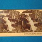 Victorian lady parlor scene stereograph stereoview stereoscope card Kilburn antique 1909 J.M. Davis