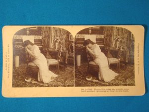 Victorian lady parlor scene stereograph stereoview stereoscope card Kilburn antique 1909 J.M. Davis